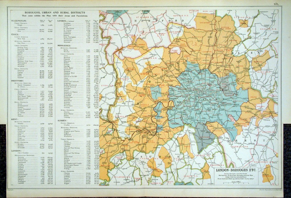 Central London Districts Map.Antique Maps Of London Bacon