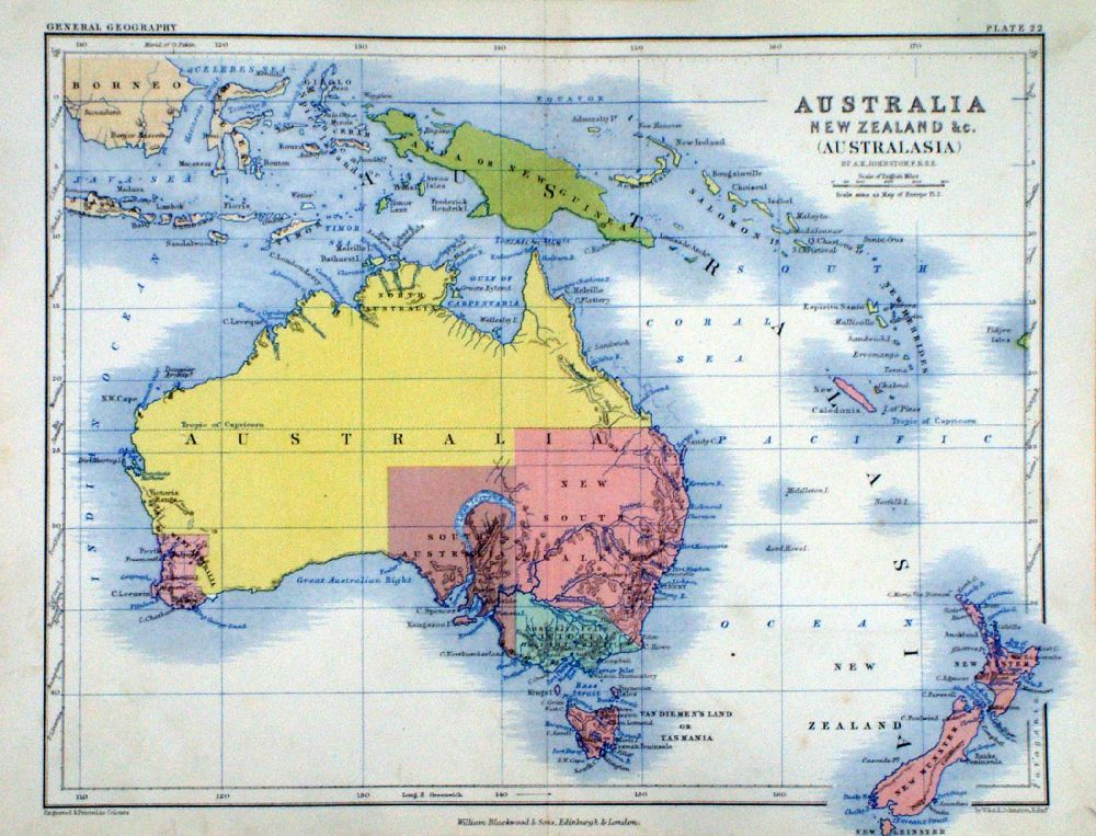 Antique maps of australia new zealand and pacific australia new zealand australasia ak johnston william blackwood 1854 size 320 x 250 mm centre fold early full colour lithographic printing sciox Images